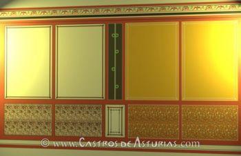 Chao Samartín, Grandas de Salime. Reconstrucción de panel pictórico de una de las estancias de la domus