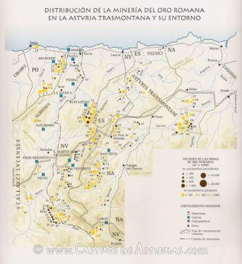 Minería del oro romana en la Asturia Trasmontana. Según A. Perea y F.J. Sánchez-Palencia, 1995.