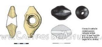 Maza de Teverga y cuenta de azabache de Monte Areo (Dibujo: M.A. de Blas)