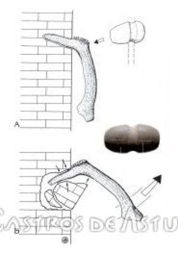 Herramientas en hueso de la mina de El Aramo (Dibujo: M.A. de Blas)