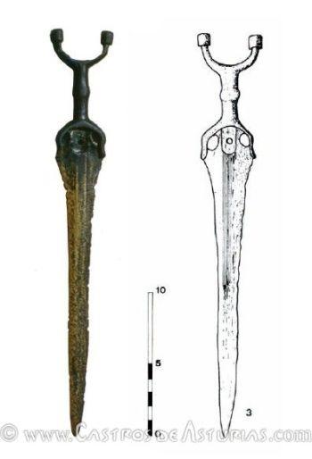 Puñal de antenas de Penácaros, en Boal (de Blas & Villa 2007, 663)