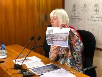 Concha Masa, diputada de IU Asturias durante la rueda de prensa
