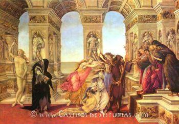 La calumnia de Apeles. Sandro Botticcelli, 1495, Galería de los Uffizi