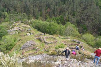 Hillforts study group durante su visita al castro de Pendia, en Boal